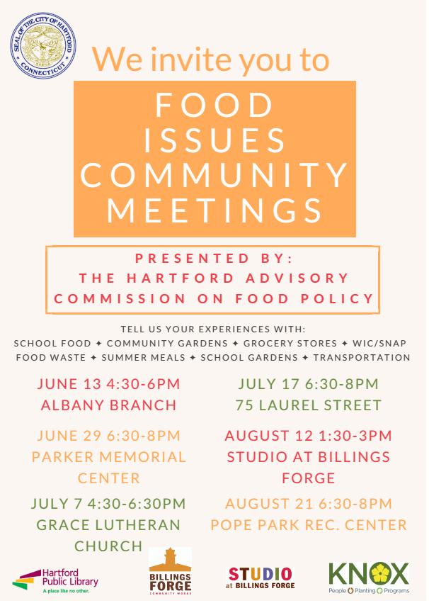 food issues community meetings